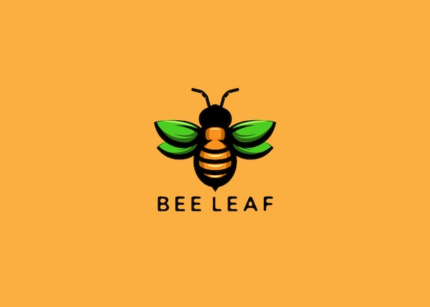 Пчела с зеленым логотипом листьев