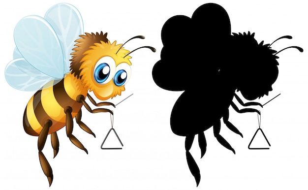 Пчела с треугольным музыкальным инструментом