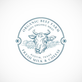 牛肉と牛乳のファームバッジまたはロゴのテンプレート。