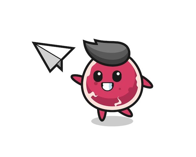 Мультяшный персонаж из говядины, бросающий бумажный самолетик, милый стиль дизайна для футболки, стикер, элемент логотипа