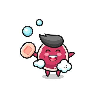 쇠고기 캐릭터가 비누를 들고 목욕하고 있으며 티셔츠, 스티커, 로고 요소를 위한 귀여운 스타일 디자인