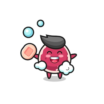 Beef character is bathing while holding soap , cute style design for t shirt, sticker, logo element