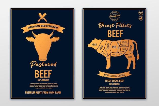 소 머리와 쇠고기 암소 로고 신선한 쇠고기 유행 로고 엠 블 럼 포스터