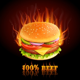 Beef hamburger background