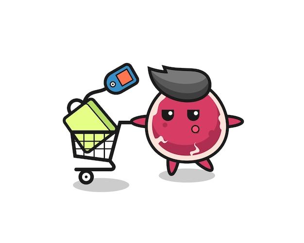 Мультфильм иллюстрации говядины с тележкой для покупок, милый стиль дизайна для футболки, стикер, элемент логотипа