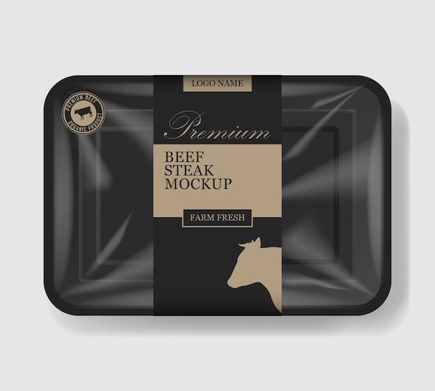 牛肉の包装。セロハンカバー付きのプラスチック製トレー容器。プラスチック製の食品容器。図。