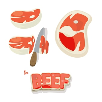 Beef meat set. pieces of raw beef meat and slice in cartoon style.