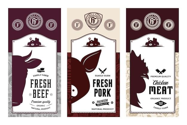 쇠고기 돼지 고기 치킨 현대적인 스타일의 레이블