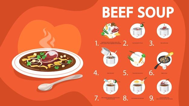 쇠고기 수프 레시피. 집에서 맛있는 저녁 요리하기 프리미엄 벡터