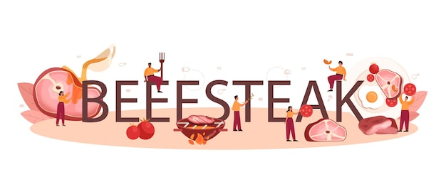Beef steak typographic header