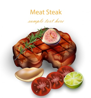 Beef steak and vegetables realistic vector
