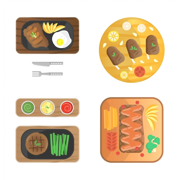 Beef steaks illustration collection