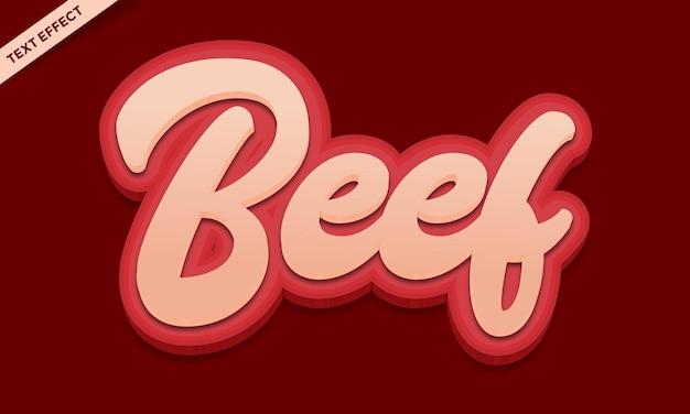 Текстовый эффект говядины дизайн вектор