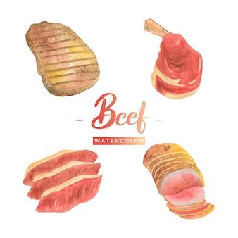 쇠고기 수채화 디자인 일러스트