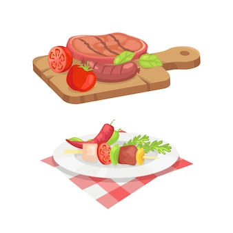 Beefsteak and skewer icons