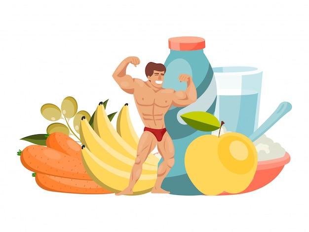 Еда персоны здорового плодоовощ характера характера строения мускулистого человека здоровая изолированная на белизне, иллюстрации. спортивное правильное питание.