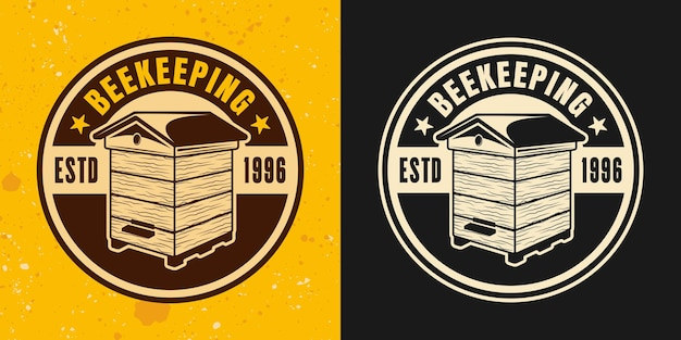 Beehive two colored styles vector emblem, badge, label or logo with hive on yellow and dark background