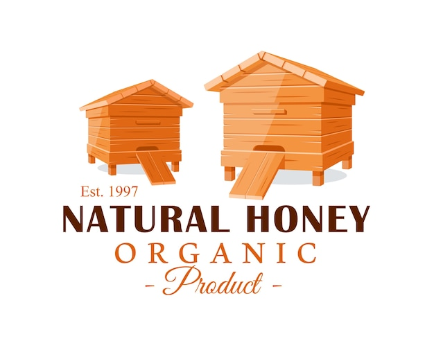 Beehives  on white background. honey label, logo, emblem concept.  illustration