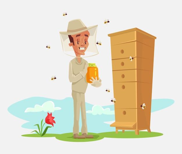 양봉가. 꿀벌 율리. 양봉장. 꿀벌 정원. 플랫 만화 일러스트 레이션