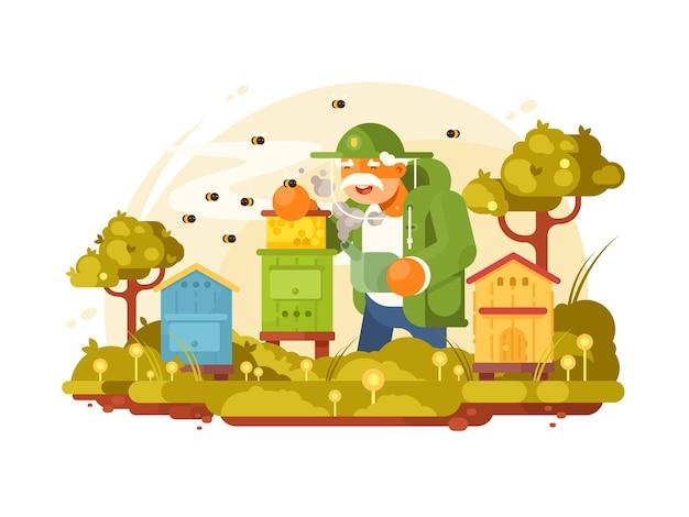 養蜂家の老人が養蜂場で甘い蜂蜜を集める。図