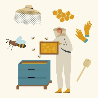 Beekeeper female character in protective suit with hat caring of bees