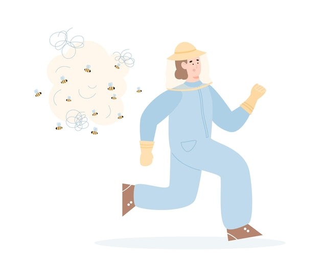 Beekeeper or hiver fleeing from the bees flat  isolated