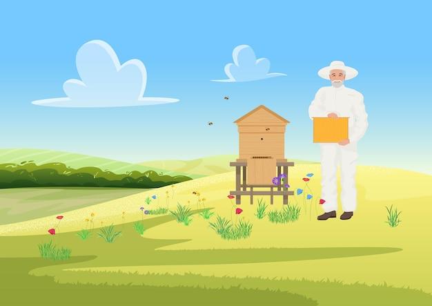 양봉장 농장 양봉 농업에 양봉가 사람들 벌집에서 수집하는 꿀