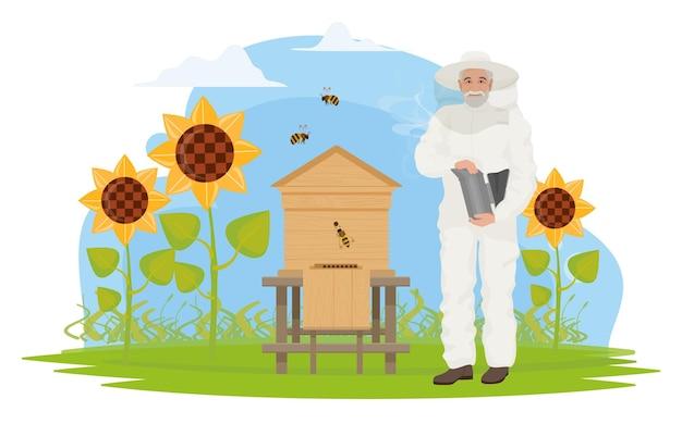 Beekeeper people people work on apiary honey production elderly apiarist beekeeping