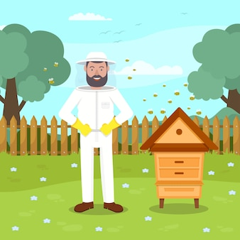 Beekeeper in protective suit stand near beehive.