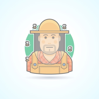 Beekeeper surrounded by bees, man in a bee protective veil icon. avatar and person illustration.  colored outlined style.