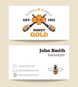 Beekeeper vector business card template