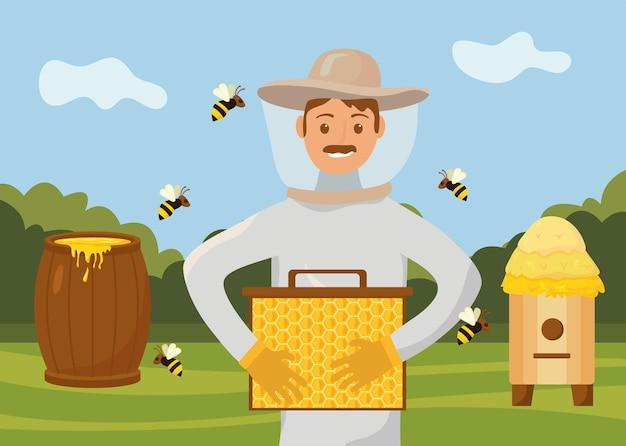 キャンプで働く養蜂家
