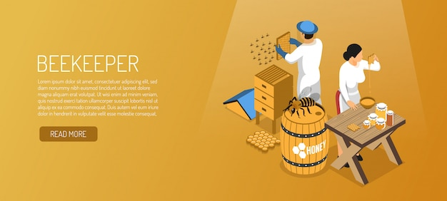 Beekeepers during honey production isometric horizontal banner on pale brown