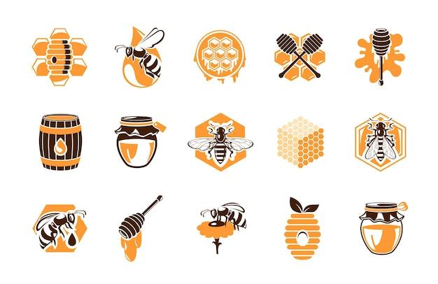 養蜂場のアイコン、蜂蜜製品、ミツバチ。蜂の巣のハニカム、木製の樽、スプラッシュドロップ付きのハニーディッパー。
