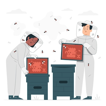 Beekeeping concept illustration