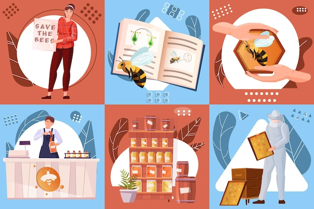 Beekeeping flat compositions set of counters with sweet organic product honeycomb