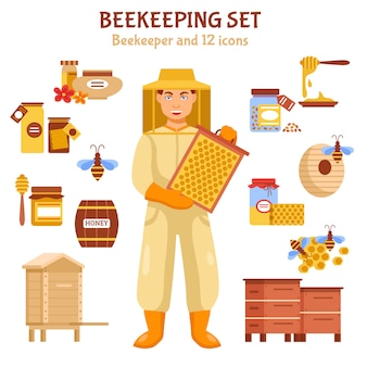 Beekeeping honey illustration icon set