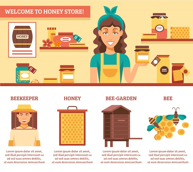 Beekeeping honey infographics