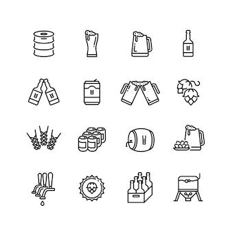 Beer alcohol drinks line vector icons