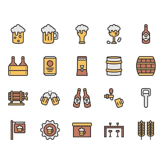 Beer and alcohol related icon and symbol set