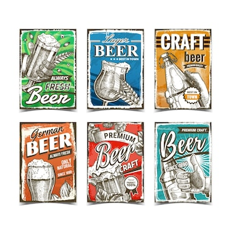 Beer alcoholic drink advertise posters set