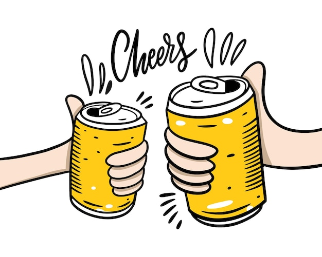 Beer aluminum can. hand drawn  illustration. cheers lettering phrase. cartoon style. isolated on white background. design for banner, poster, greeting cards, web, invitation to party.