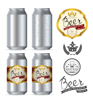 Beer aluminum realistic cans