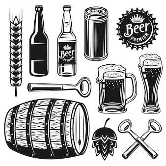 ヴィンテージスタイルの黒いオブジェクトまたはグラフィック要素のビールと醸造所のセット
