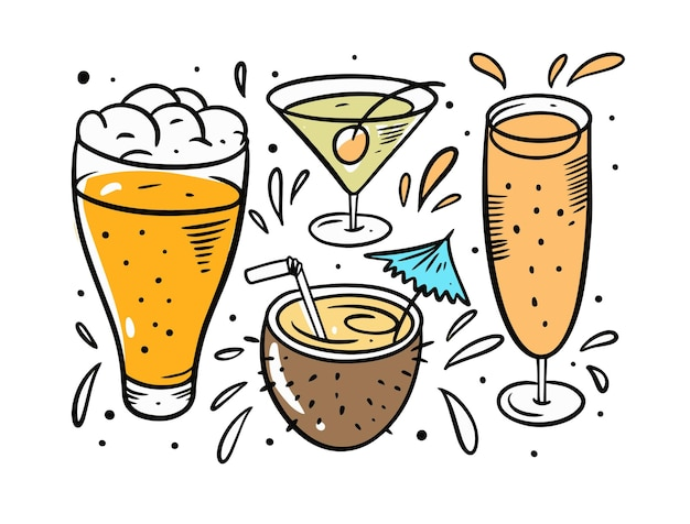 Набор пива и коктейлей, изолированные на белом фоне