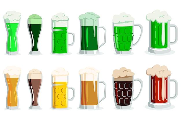 Пиво и зеленый эль в бокалах разных видов. мультфильм иконки алкогольных напитков в чашках и кружках изолированы.