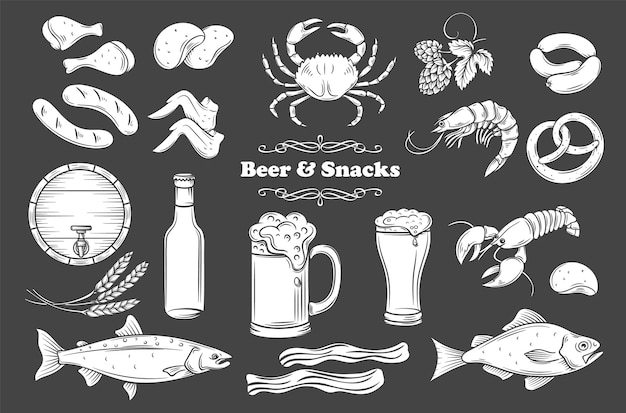 ビールとスナックのグリフ分離アイコンセット。パブショップラベルの黒のイラストに白。