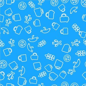 ビールとスナックの線形シームレスパターン。オクトーバーフェストは青い背景を扱います。ラッピングペーパーデザイン