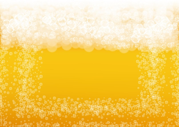 Beer background. craft lager splash. oktoberfest foam. fresh pint of ale with realistic white bubbles.