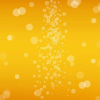 Beer background. craft lager splash. oktoberfest foam. orange menu concept. shiny pint of ale with realistic bubbles. cool liquid drink for bar. yellow mug for oktoberfest foam. Premium Vector